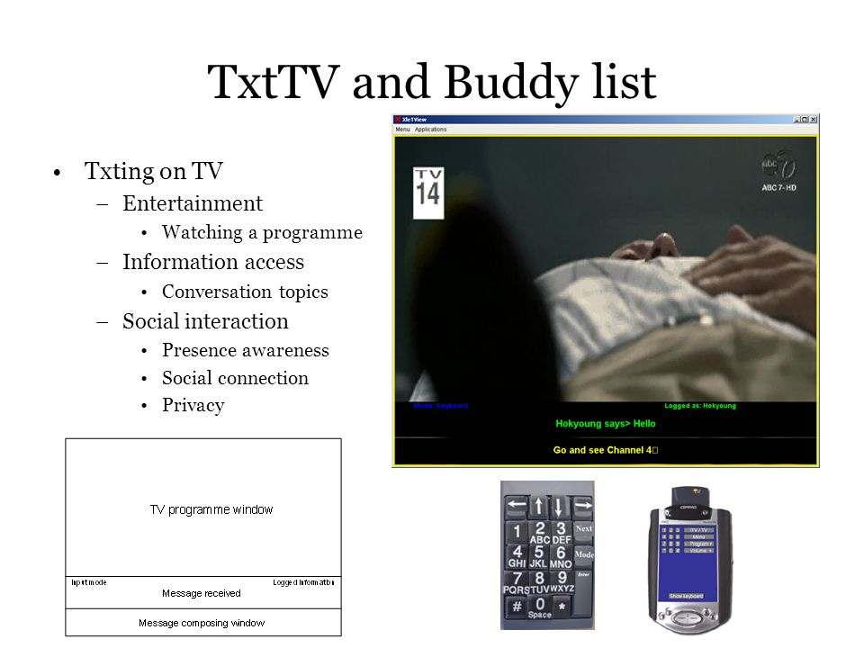 TxtTV and Buddy list Txting on TV –Entertainment Watching a programme –Information access Conversation topics –Social interaction Presence awareness Social connection Privacy