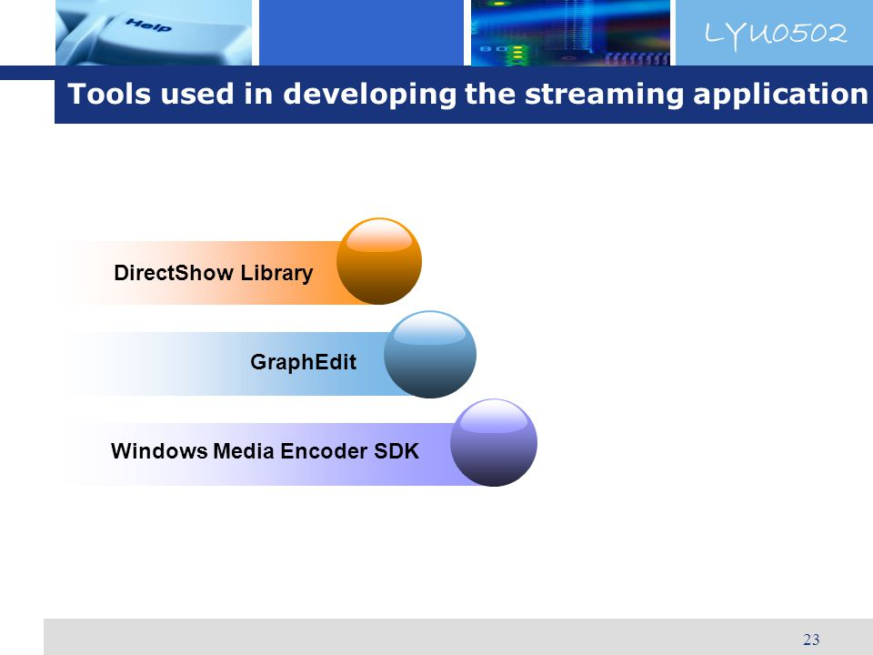 LYU0502 23 Windows Media Encoder SDK DirectShow Library GraphEdit Tools used in developing the streaming application