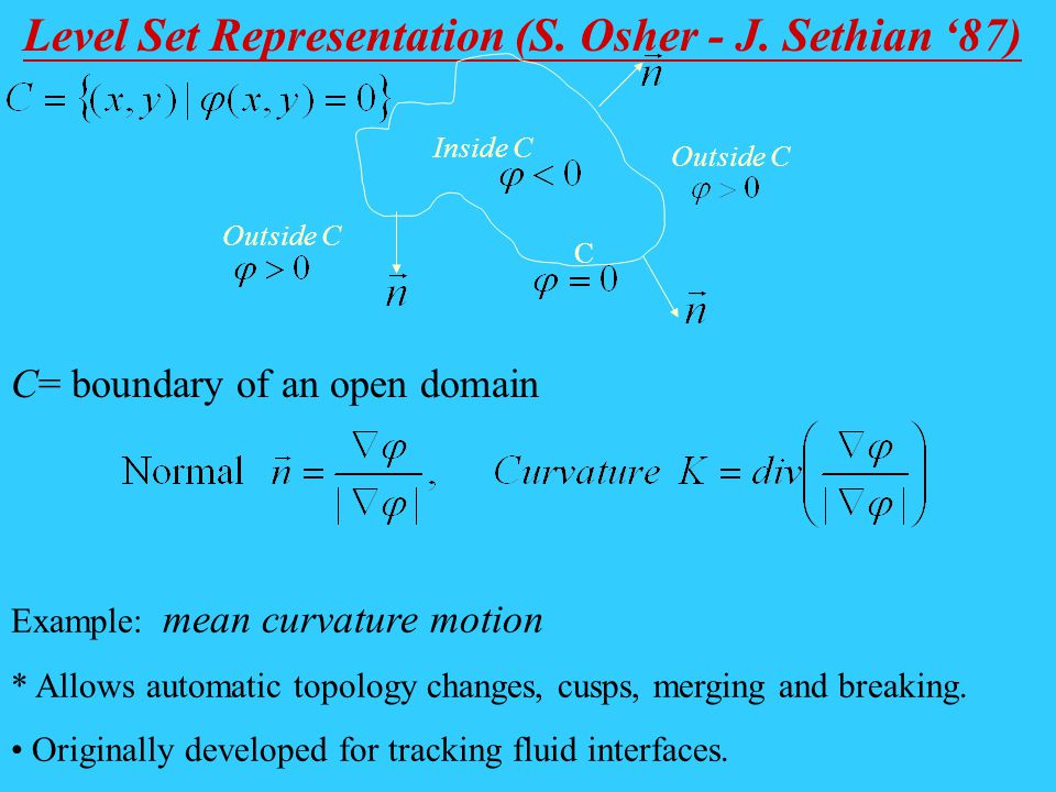 Level Set Representation (S. Osher - J. Sethian 87) Inside C Outside C C Example: mean curvature motion * Allows automatic topology changes, cusps, me