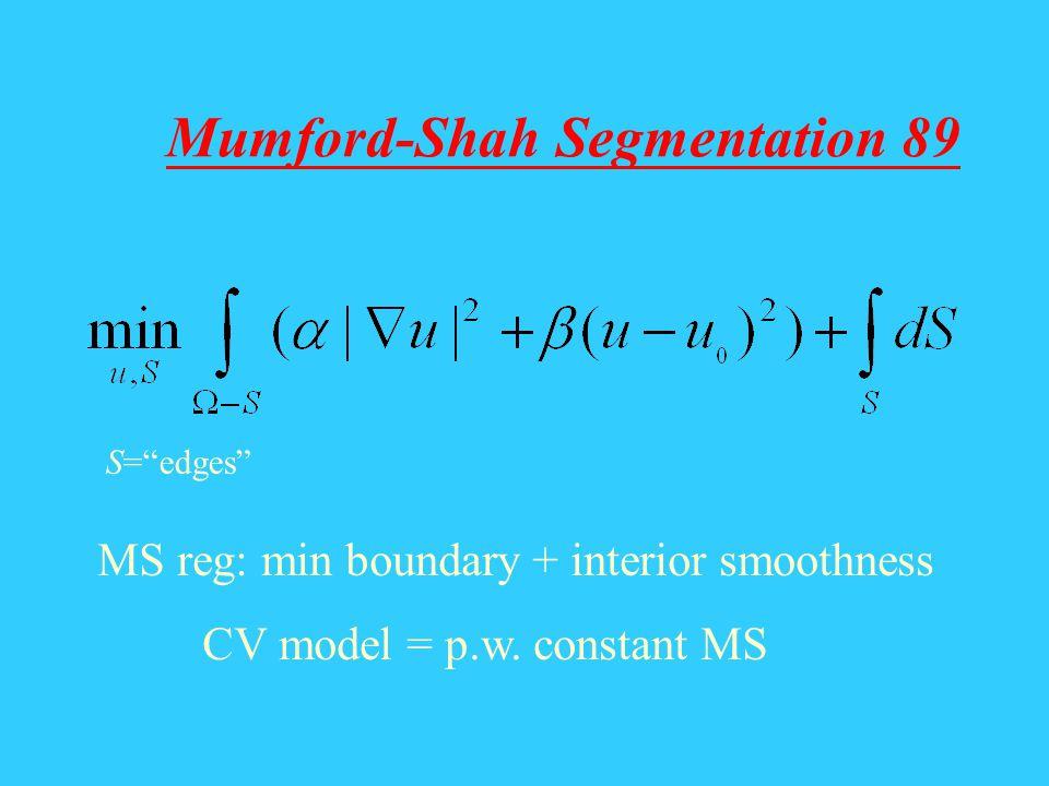 Mumford-Shah Segmentation 89 S=edges MS reg: min boundary + interior smoothness CV model = p.w. constant MS