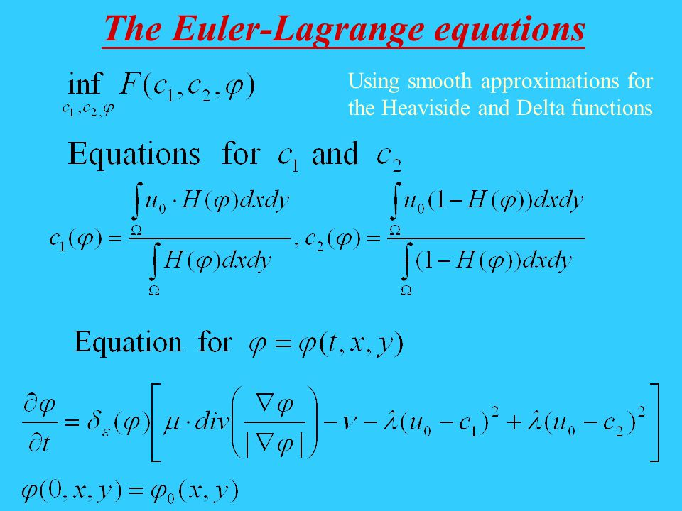 The Euler-Lagrange equations Using smooth approximations for the Heaviside and Delta functions