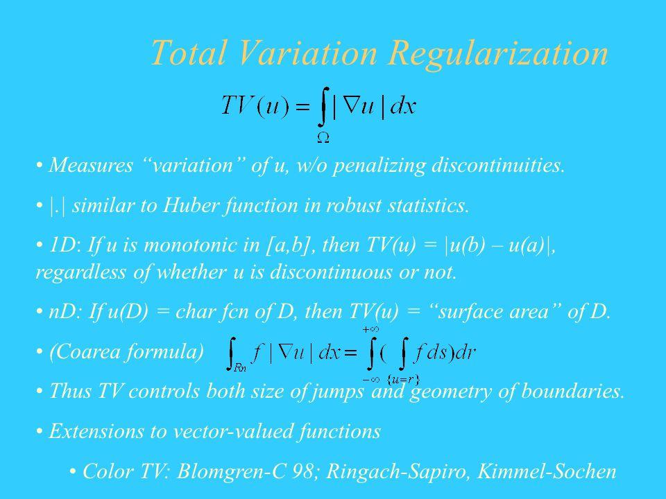 Total Variation Regularization Measures variation of u, w/o penalizing discontinuities. |.| similar to Huber function in robust statistics. 1D: If u i