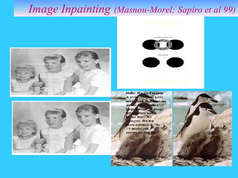 Image Inpainting (Masnou-Morel; Sapiro et al 99) Disocclusion Graffiti Removal