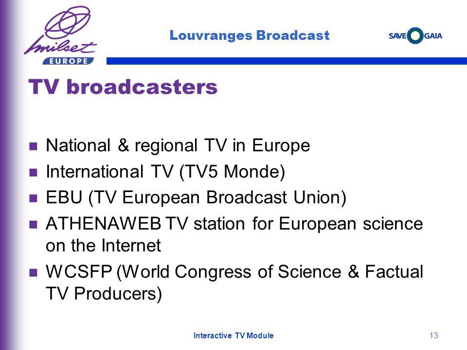 13 TV broadcasters National & regional TV in Europe International TV (TV5 Monde) EBU (TV European Broadcast Union) ATHENAWEB TV station for European s