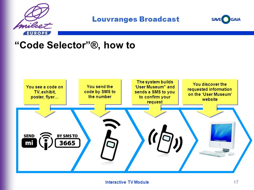 17 Code Selector®, how to You send the code by SMS to the number You see a code on TV, exhibit, poster, flyer… You discover the requested information