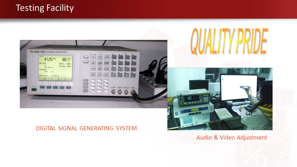 DIGITAL SIGNAL GENERATING SYSTEM Audio & Video Adjustment Testing Facility