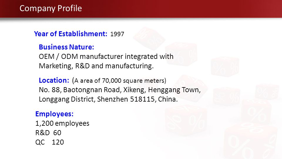 In June, 1997, the company was established in Shenzhen City and main product was VCD MPEG card / VCD player.