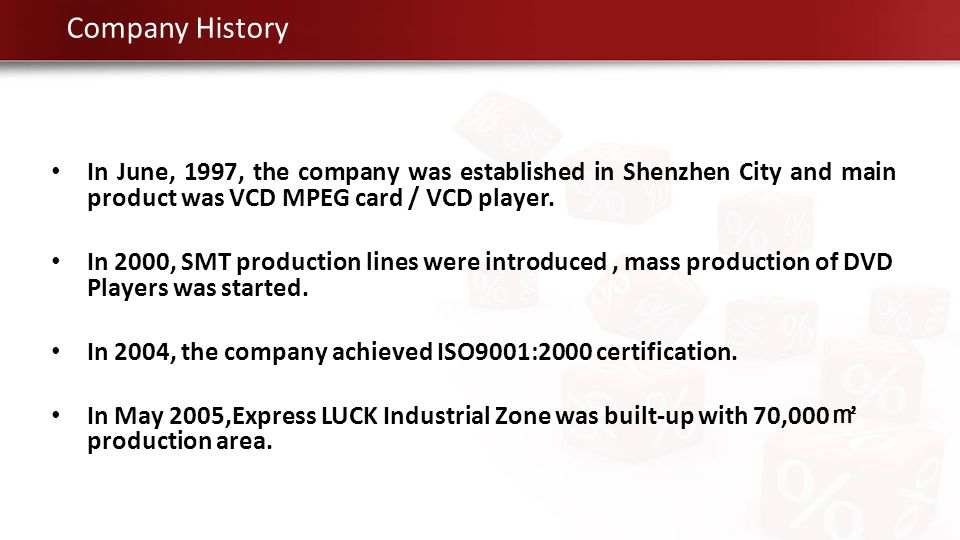 In June, 1997, the company was established in Shenzhen City and main product was VCD MPEG card / VCD player. In 2000, SMT production lines were introd