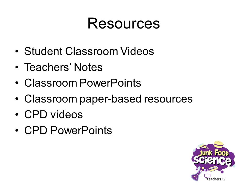 Resources Student Classroom Videos Teachers Notes Classroom PowerPoints Classroom paper-based resources CPD videos CPD PowerPoints
