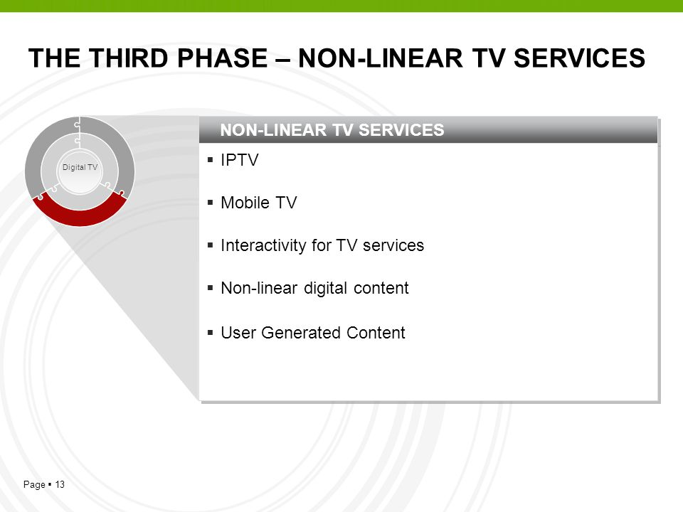 Page 13 NON-LINEAR TV SERVICES IPTV Mobile TV Interactivity for TV services Non-linear digital content User Generated Content IPTV Mobile TV Interacti
