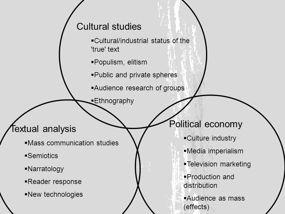 Cultural studies Cultural/industrial status of the true text Populism, elitism Public and private spheres Audience research of groups Ethnography Textual analysis Mass communication studies Semiotics Narratology Reader response New technologies Political economy Culture industry Media imperialism Television marketing Production and distribution Audience as mass (effects)