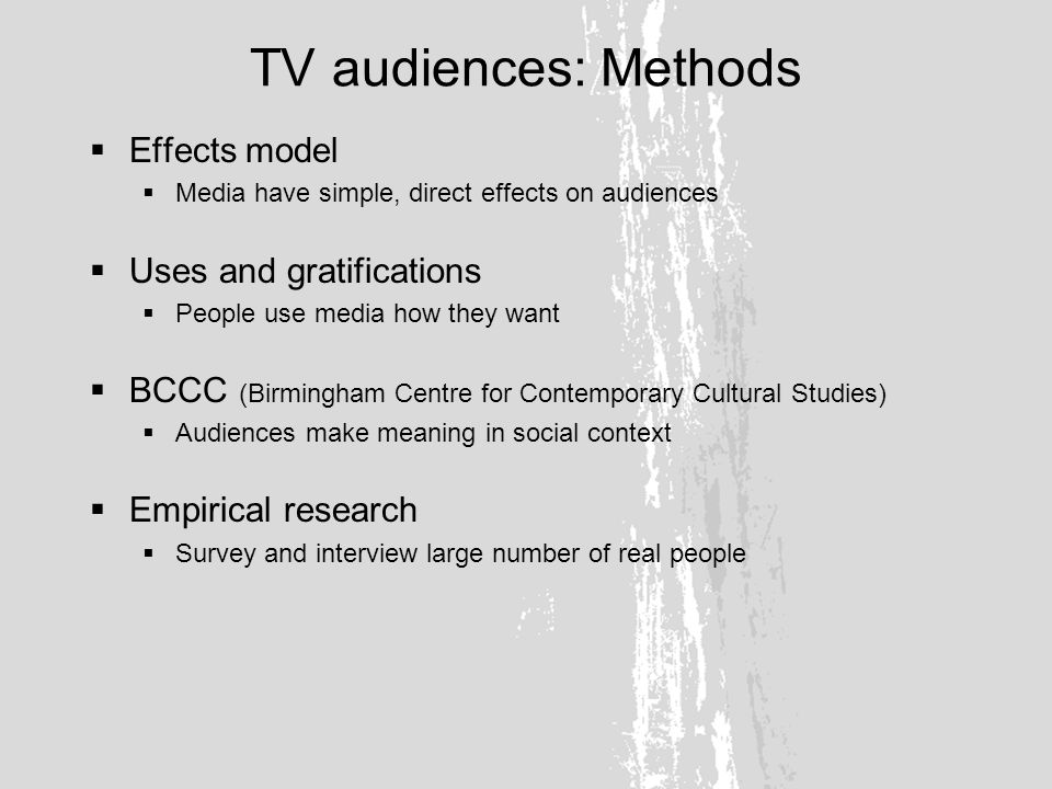 TV audiences: Participation and community Fan distinction Explicit aesthetic choices are in fact often constituted in opposition to the choices of the groups closest in social space, with whom the competition is most direct and most immediate (Bourdieu, Distinction) Textual and social discrimination is part and parcel of the same cultural activity (Fiske, Understanding Popular Culture)