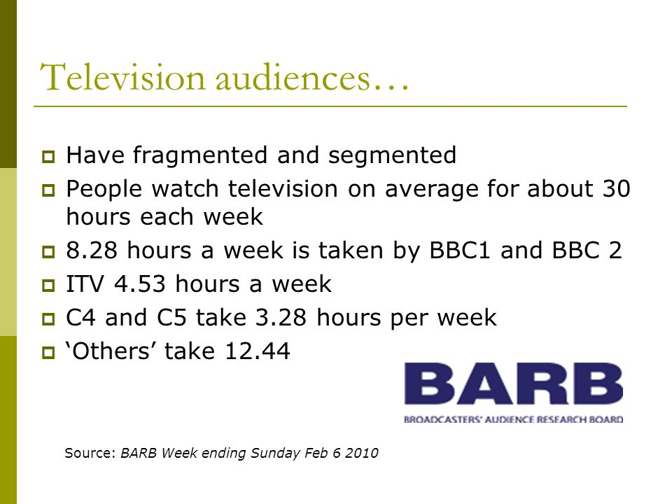Television audiences… Have fragmented and segmented People watch television on average for about 30 hours each week 8.28 hours a week is taken by BBC1 and BBC 2 ITV 4.53 hours a week C4 and C5 take 3.28 hours per week Others take 12.44 Source: BARB Week ending Sunday Feb 6 2010