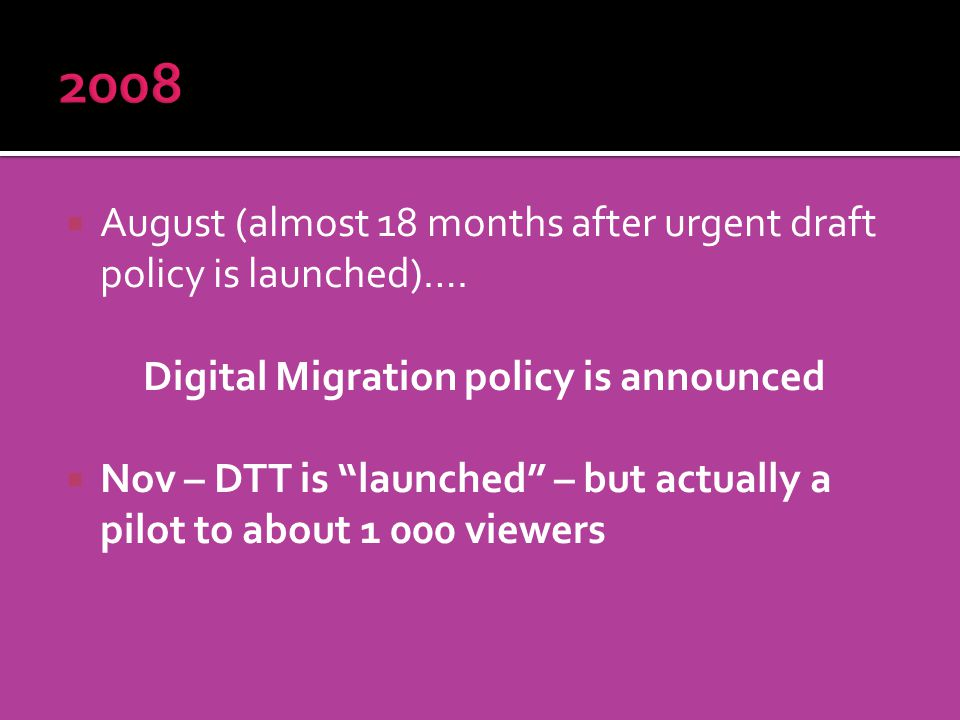 August (almost 18 months after urgent draft policy is launched)….