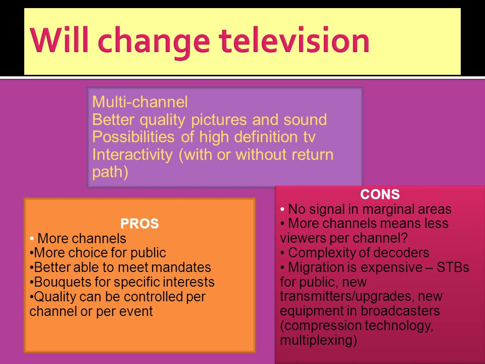 Multi-channel Better quality pictures and sound Possibilities of high definition tv Interactivity (with or without return path) PROS More channels More choice for public Better able to meet mandates Bouquets for specific interests Quality can be controlled per channel or per event CONS No signal in marginal areas More channels means less viewers per channel.