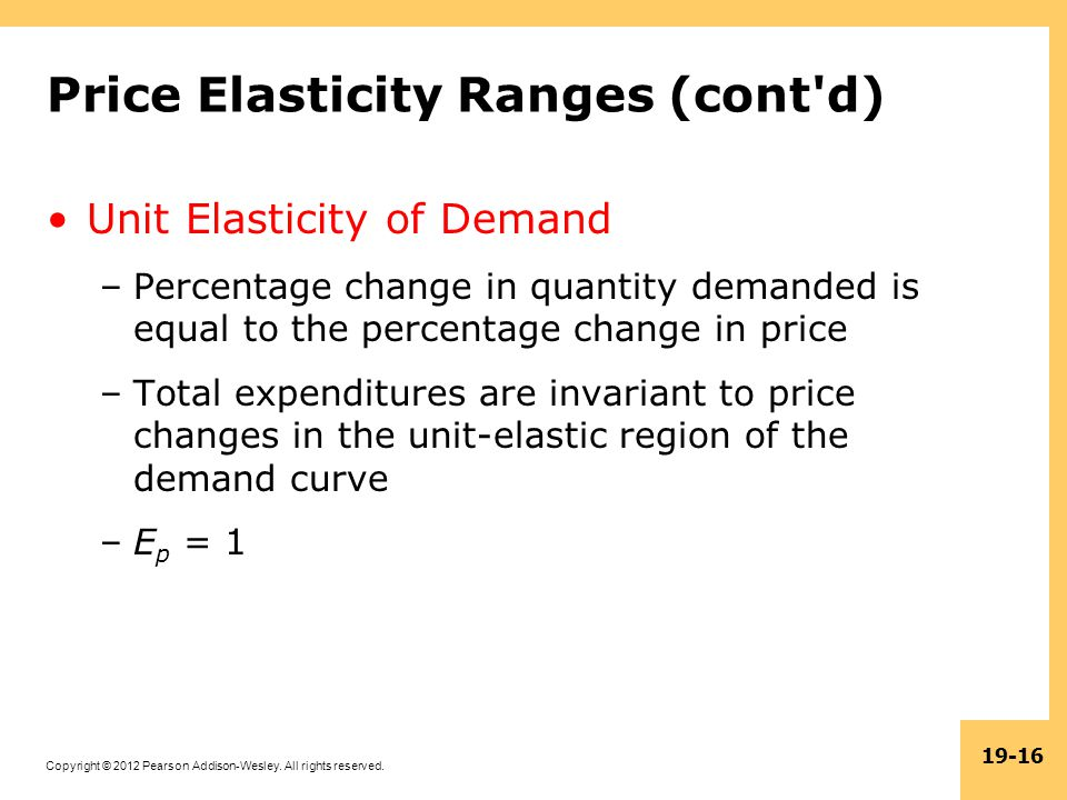 Copyright © 2012 Pearson Addison-Wesley. All rights reserved. 19-16 Price Elasticity Ranges (cont'd) Unit Elasticity of Demand –Percentage change in q