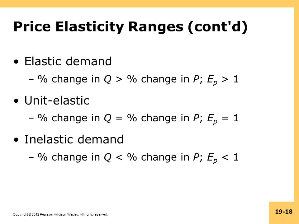 Copyright © 2012 Pearson Addison-Wesley. All rights reserved. 19-18 Price Elasticity Ranges (cont'd) Elastic demand –% change in Q > % change in P; E