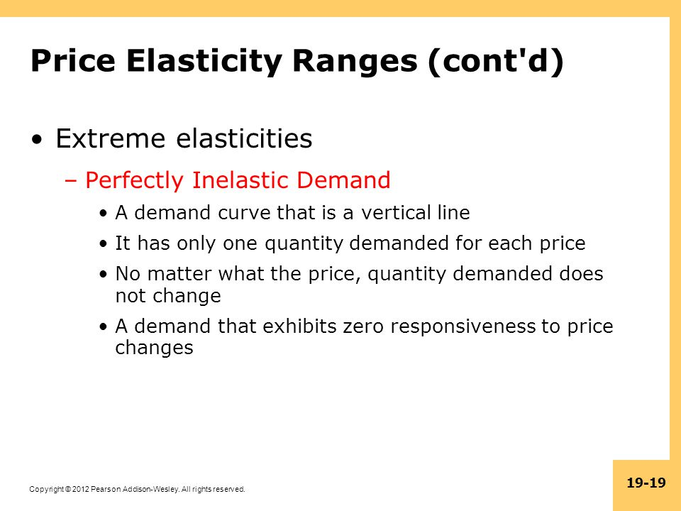 Copyright © 2012 Pearson Addison-Wesley. All rights reserved. 19-19 Price Elasticity Ranges (cont'd) Extreme elasticities –Perfectly Inelastic Demand
