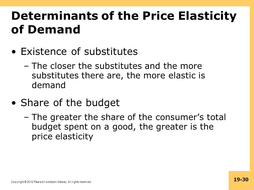 Copyright © 2012 Pearson Addison-Wesley. All rights reserved. 19-30 Determinants of the Price Elasticity of Demand Existence of substitutes –The close