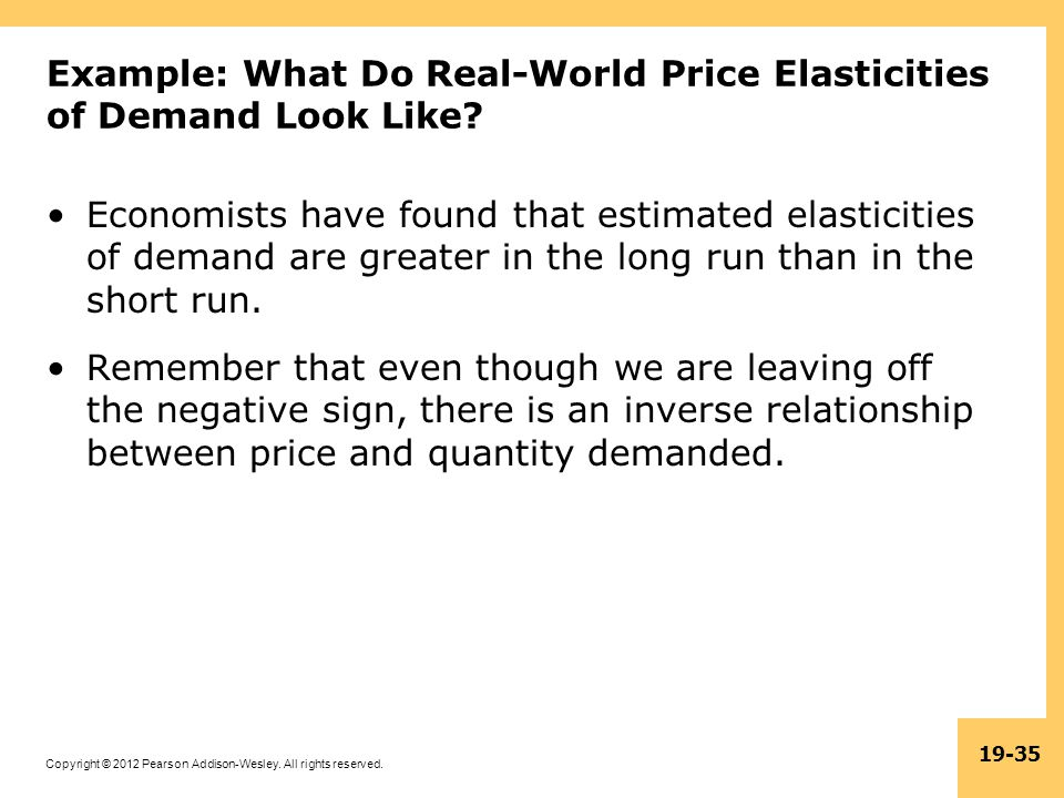 Copyright © 2012 Pearson Addison-Wesley. All rights reserved. 19-35 Example: What Do Real-World Price Elasticities of Demand Look Like? Economists hav