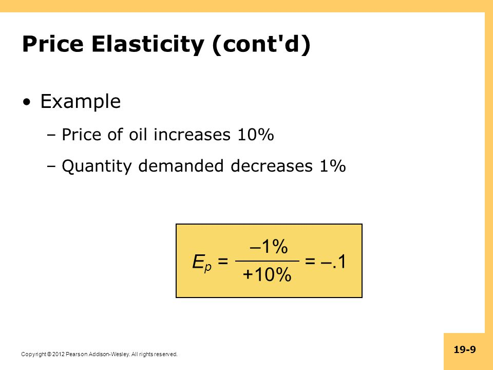 Copyright © 2012 Pearson Addison-Wesley. All rights reserved. 19-9 E p = –1% +10% = –.1 Price Elasticity (cont'd) Example –Price of oil increases 10%