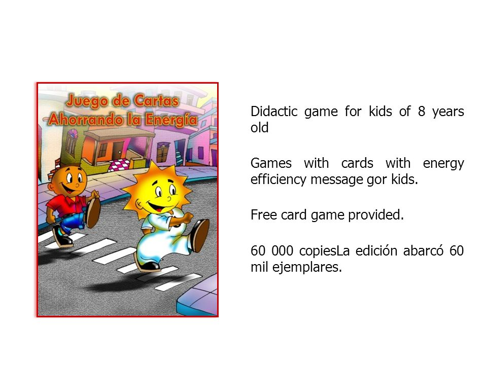 Didactic game for kids of 8 years old Games with cards with energy efficiency message gor kids.