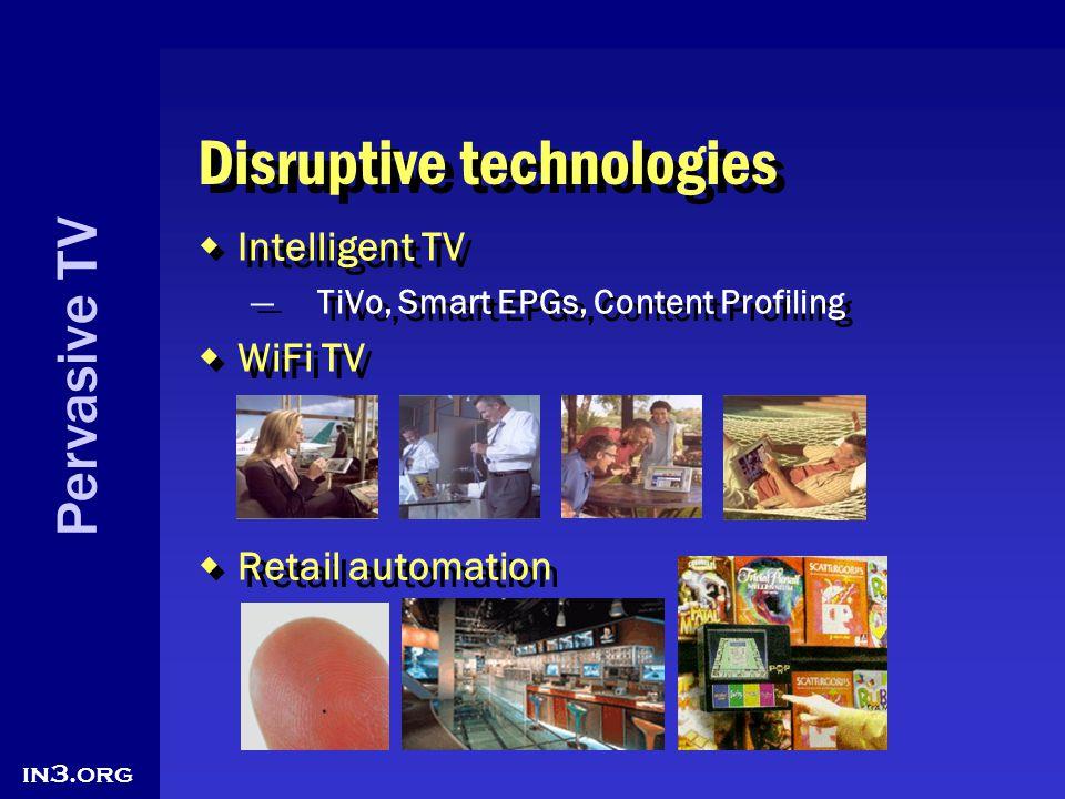 Pervasive TV in3.org Disruptive technologies Intelligent TV TiVo, Smart EPGs, Content Profiling WiFi TV Retail automation Intelligent TV TiVo, Smart E