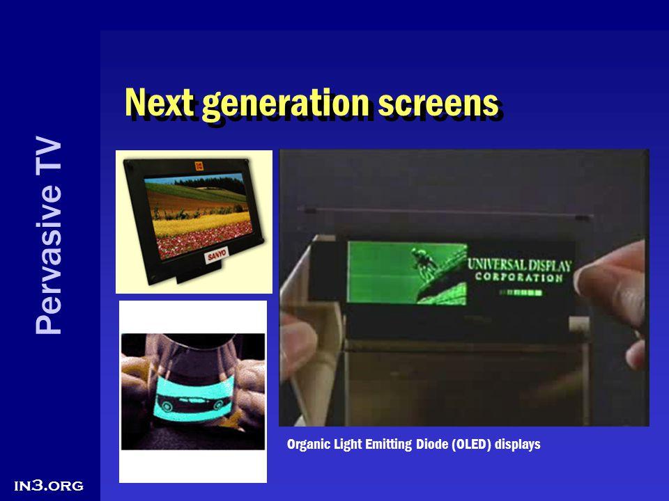 Pervasive TV in3.org Next generation screens Organic Light Emitting Diode (OLED) displays