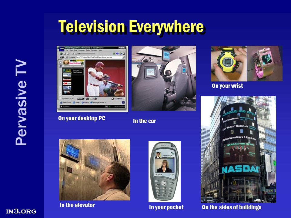 Pervasive TV in3.org Television Everywhere On your desktop PC In the elevator In the car In your pocket On your wrist On the sides of buildings