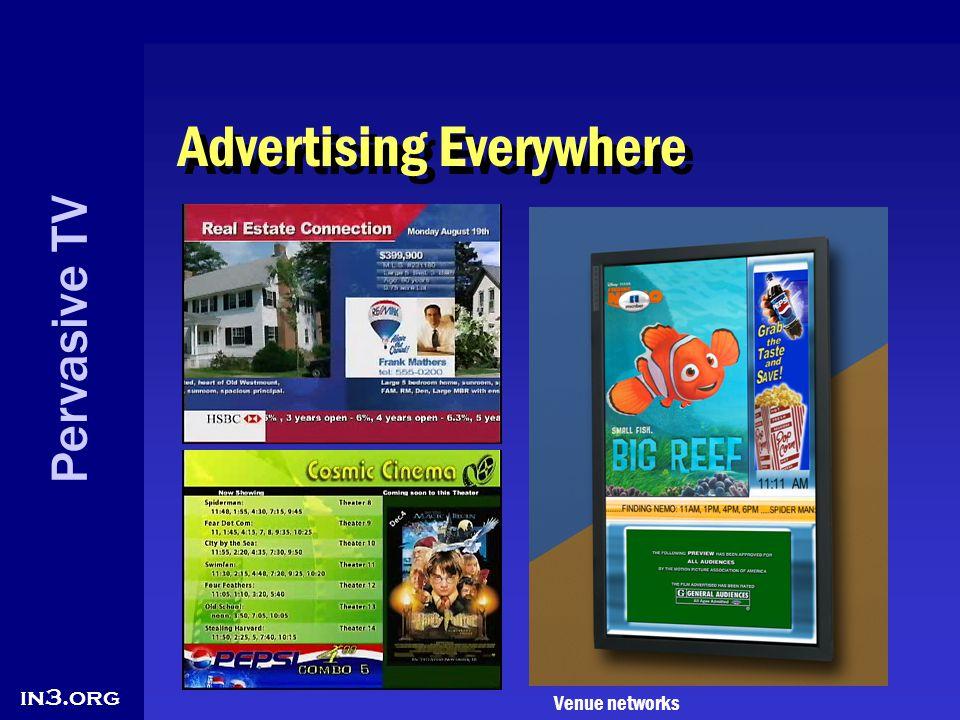 Pervasive TV in3.org Advertising Everywhere Venue networks