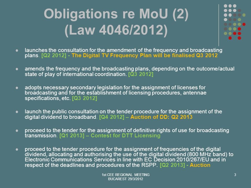 Obligations re MoU (2) (Law 4046/2012) launches the consultation for the amendment of the frequency and broadcasting plans.