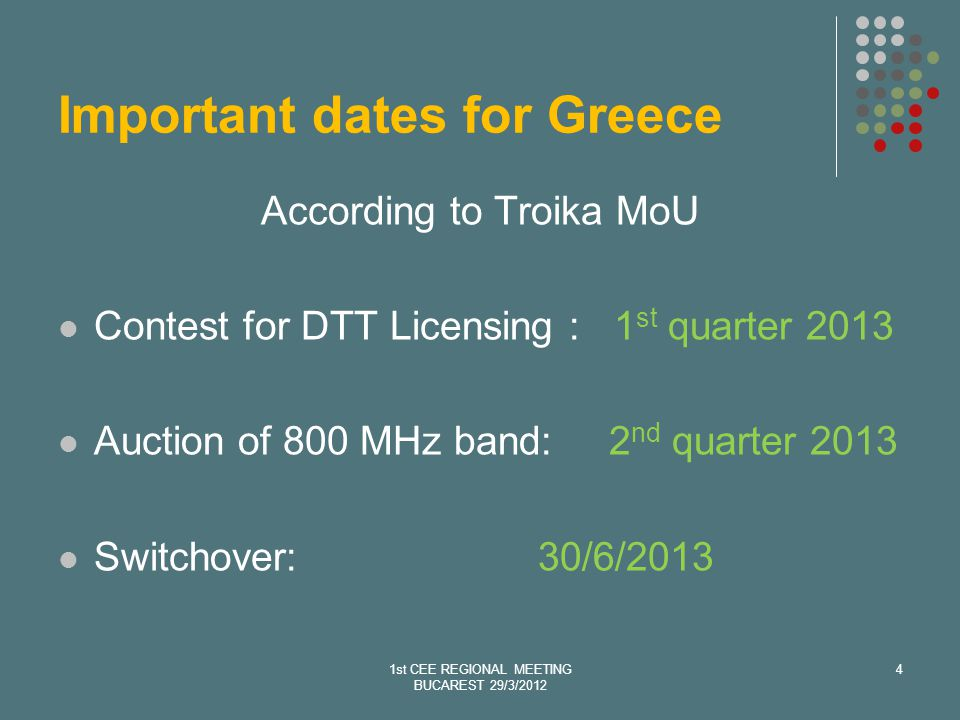 Important dates for Greece According to Troika MoU Contest for DTT Licensing : 1 st quarter 2013 Auction of 800 MHz band: 2 nd quarter 2013 Switchover:30/6/2013 1st CEE REGIONAL MEETING BUCAREST 29/3/2012 4