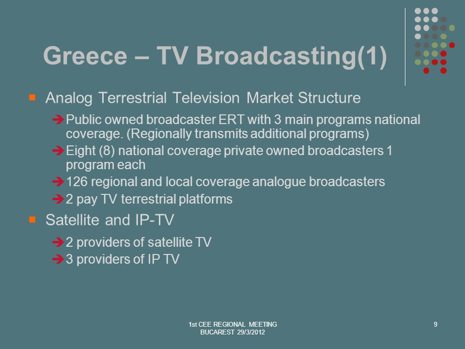Greece –TV Broadcasting (2) The country is currently running the transition phase (digital and analog transmissions coexist) The relevant common ministerial decision prescribes 23 sites for digital transmission Currently digital transmissions from 12 out of 23 sites.