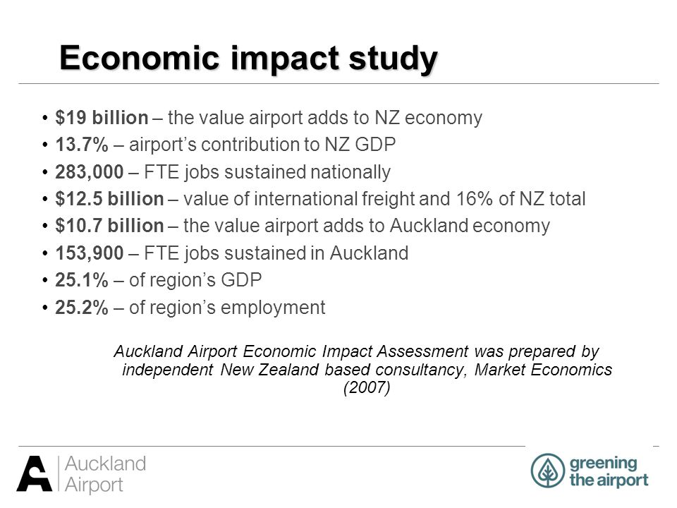 Economic impact study $19 billion – the value airport adds to NZ economy 13.7% – airports contribution to NZ GDP 283,000 – FTE jobs sustained national