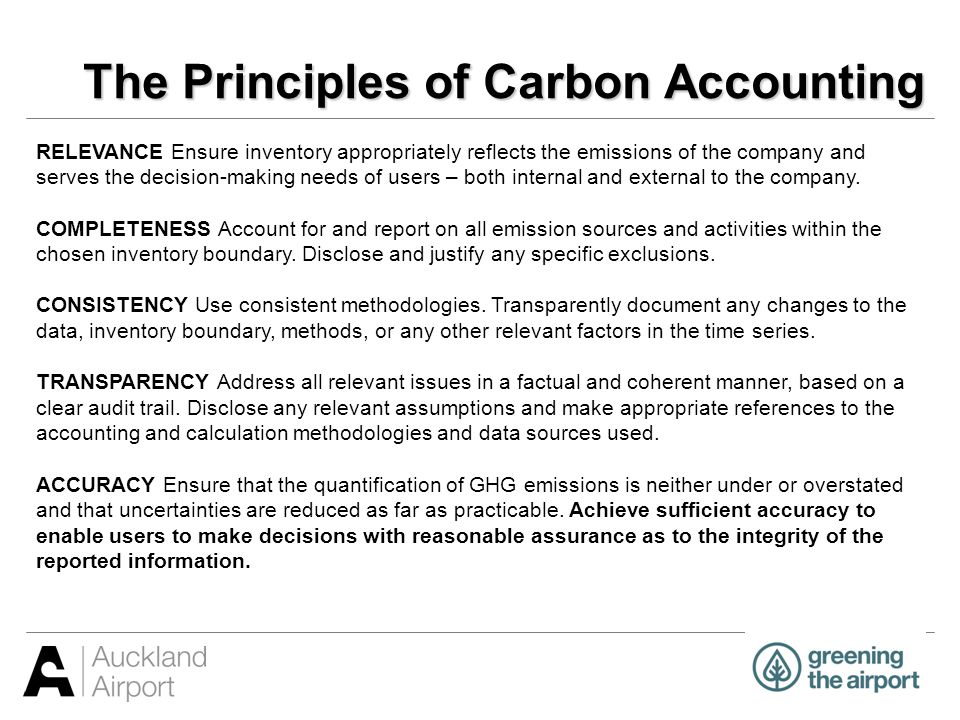 Carbon Accounting Standards Two standards available: ISO14064-1 Specification with guidance at the organizational level for quantification and reporting of greenhouse gas emissions and removals 2006.