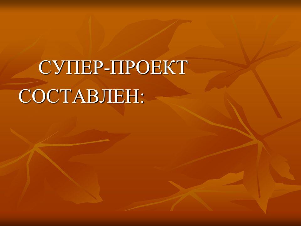 СУПЕР-ПРОЕКТ СУПЕР-ПРОЕКТСОСТАВЛЕН: