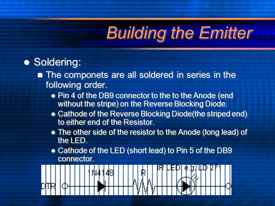 Building the Emitter Soldering: The componets are all soldered in series in the following order.