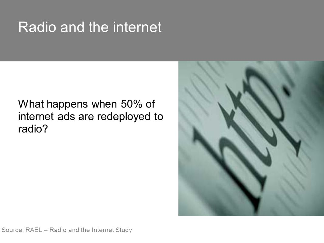 What happens when 50% of internet ads are redeployed to radio? Radio and the internet Source: RAEL – Radio and the Internet Study