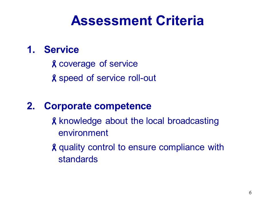 6 Assessment Criteria 1.