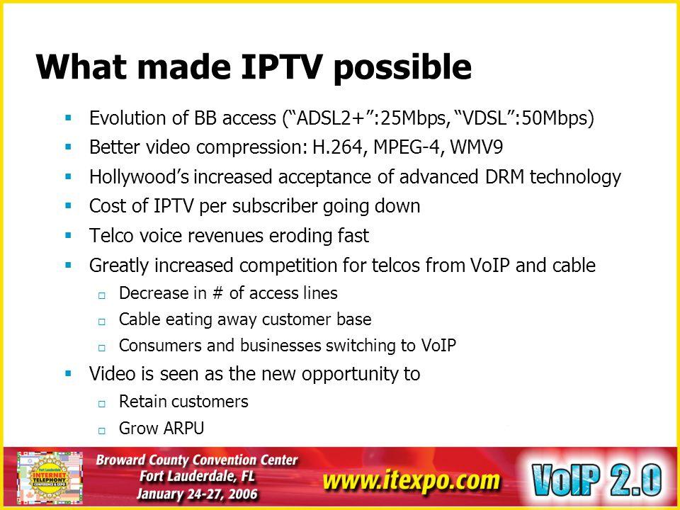 IPTV Launches Around the World Europe FastWeb (Italy) TPSL (FT & TPS, France) DreamTV (TF1 & LDcom, France) Imagenio (Telefonica, Spain) HomeChoice (UK) Kingston Interactive (UK) B2 (Sweden) France Telecom (FR) Asia PCCW (Hong Kong) Chunghwa Telecom (Taiwan) BB TV (of Yahoo BB, Japan) NA Sasktel (Canada) > 100s of small operators in the US SBC Communications Recent Trials announcements SwissCom (Bluewin) Telecom Italia Bell Canada Reliance Infocom BT Telus Telstra
