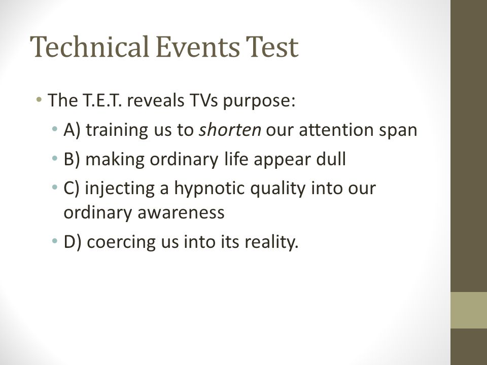 Technical Events Test The T.E.T.