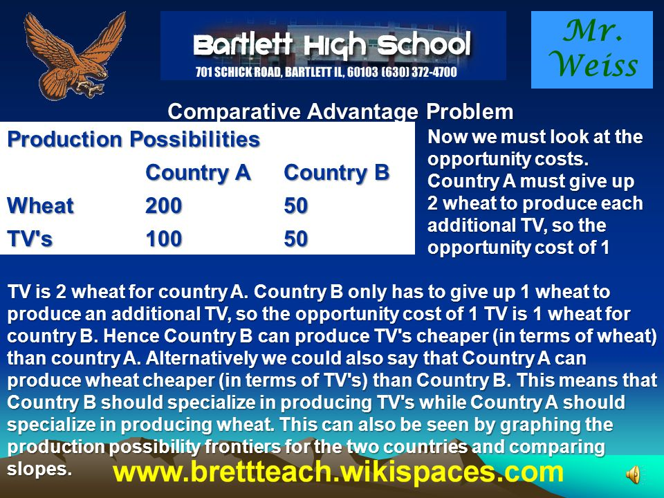 Mr. Weiss Comparative Advantage Problem Clearly Country A has an absolute advantage in the production of both wheat and TV's. In the given time frame