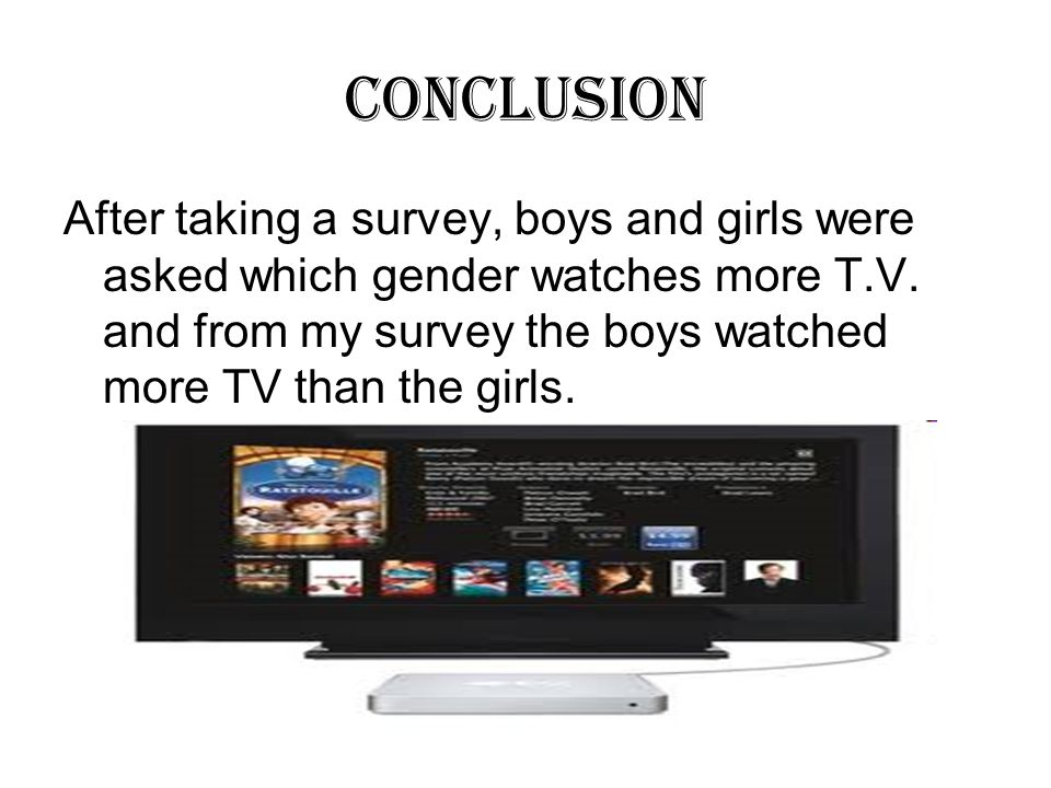 Conclusion After taking a survey, boys and girls were asked which gender watches more T.V. and from my survey the boys watched more TV than the girls.