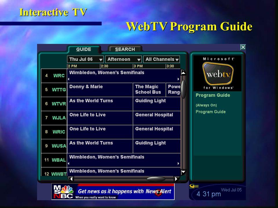 WebTV Program Guide WebTV Program Guide Interactive TV