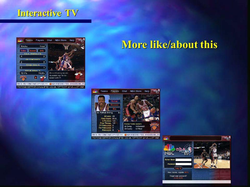 More like/about this More like/about this Interactive TV