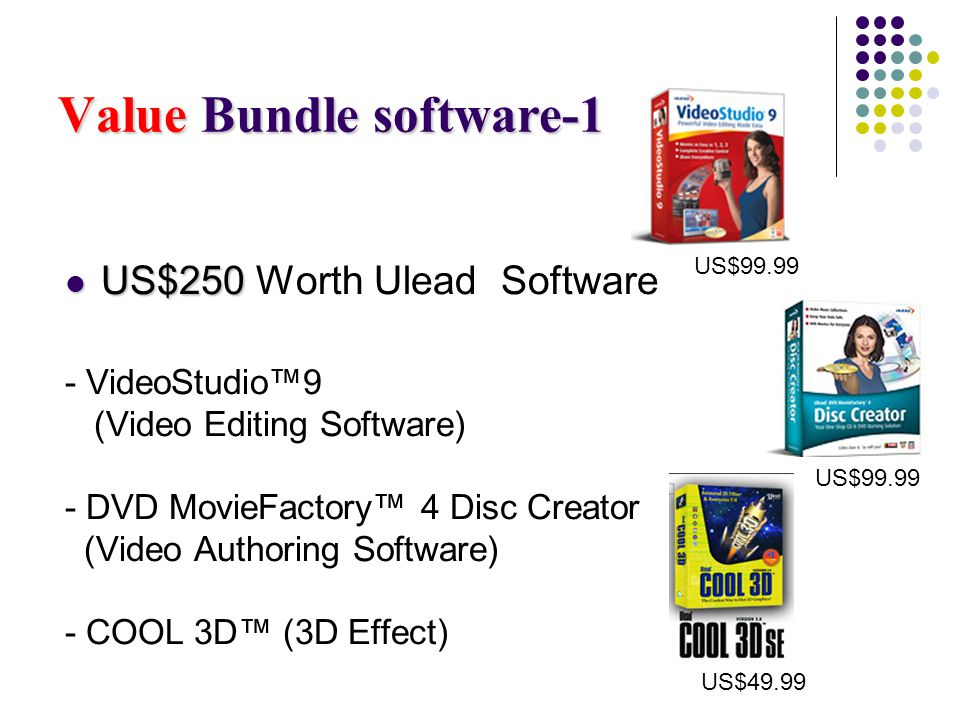 Value Bundle software-1 US$250 US$250 Worth Ulead Software - VideoStudio9 (Video Editing Software) - DVD MovieFactory 4 Disc Creator (Video Authoring Software) - COOL 3D (3D Effect) US$99.99 US$49.99