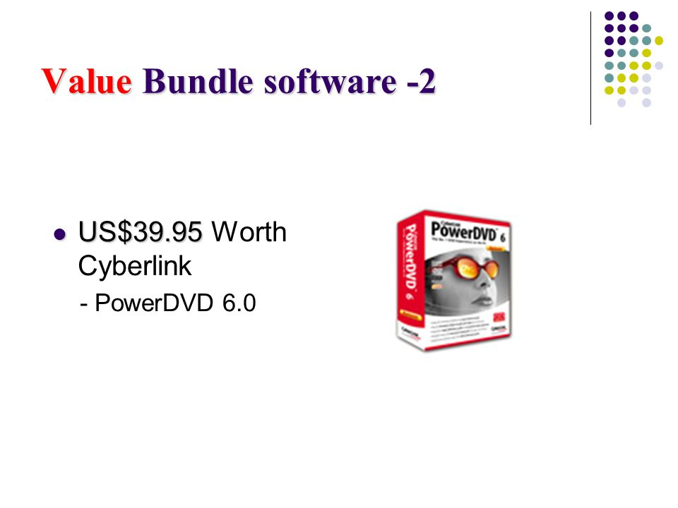 Value Bundle software -2 US$39.95 US$39.95 Worth Cyberlink - PowerDVD 6.0