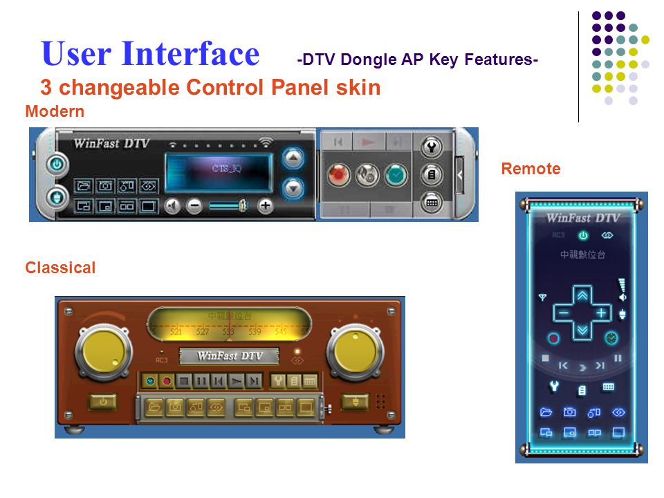 User Interface -DTV Dongle AP Key Features- 3 changeable Control Panel skin Modern Classical Remote