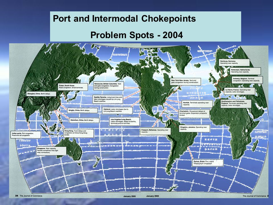 Port and Intermodal Chokepoints Problem Spots - 2004