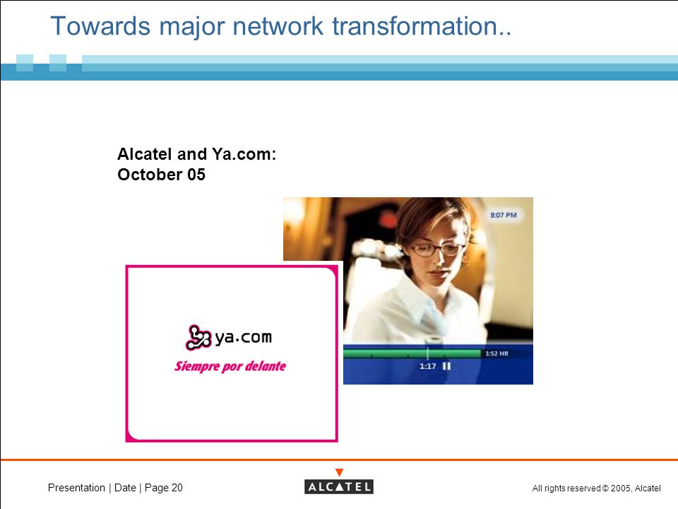 All rights reserved © 2005, Alcatel Presentation | Date | Page 20 Towards major network transformation..